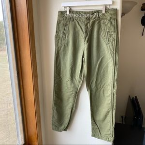 FREE PEOPLE Linen High Rise Army Green Cargo Pants